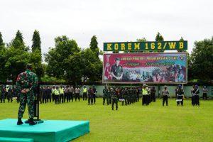 Korem 162/WB Gelar Apel Pengamanan Kunker Mantan Wapres Yusuf Kalla