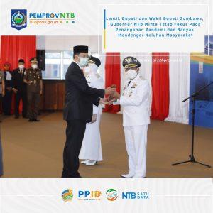 Gubernur NTB Melantik Pasangan Bupati dan Wakil Bupati Terpilih Kab. Sumbawa Masa Bakti 2021-2026
