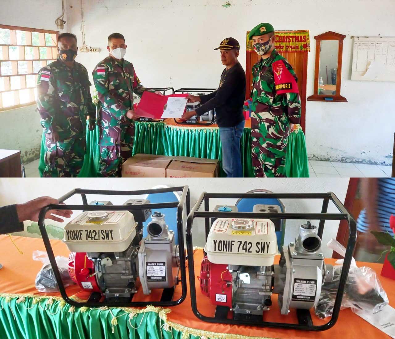 Bantu Petani, Satgas Pamtas Yonif Serahkan Dua Unit Mesin Air