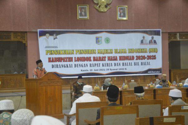 Bupati Lobar, Hadiri Pengukuhan Pengurus Mui Kabupaten Lombok Barat Masa Khidmad 2020-2025