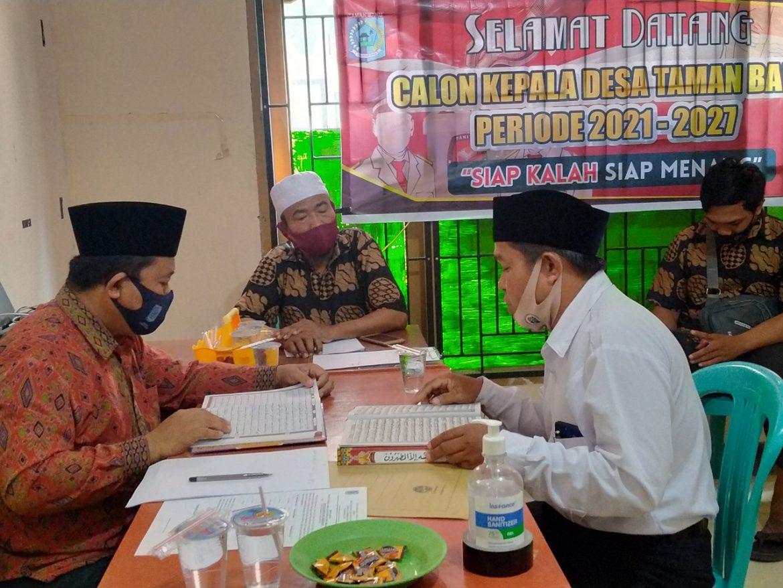 Bakal Calon Kades Taman Baru Ikuti Tes Baca Al-Qur'an.
