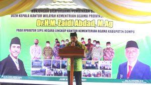 Kakanwil Hadiri Peletakkan Batu Pertama RKB Dana SBSN dan Penyerahan Bantuan di Dompu